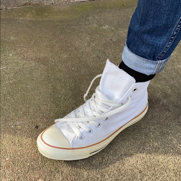 Old School White Converse High Tops